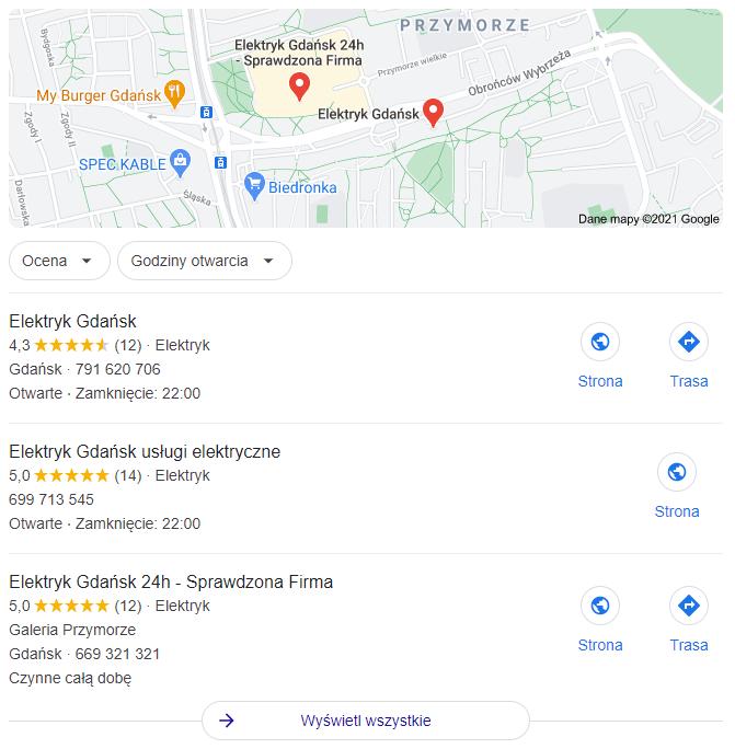 wyniki wyszukiwania google maps